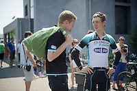 'Sport and Development Manager' Rolf Aldag checking with Tony Martin (DEU) after the recovery ride<br /> <br /> Tour de France 2013<br /> restday 2