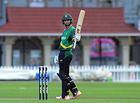 Central Stags' Tom Bruce celebrates his 50 runs during the Dream11 Super Smash T20 cricket match between the Wellington Firebirds and Central Stags at Basin Reserve in Wellington, New Zealand on Thursday, 18 December 2019. Photo: Dave Lintott / lintottphoto.co.nz