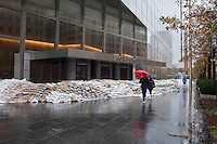 Goldman Sachs headquarters on West Street in  New York is seen massively sandbagged after Hurricane Sandy, seen on Tuesday, October 30, 2012. Hurricane Sandy roared into New York disrupting the transit system and causing widespread power outages. Con Edison is estimating it will take four days to get electricity back to Lower Manhattan. (© Richard B. Levine)