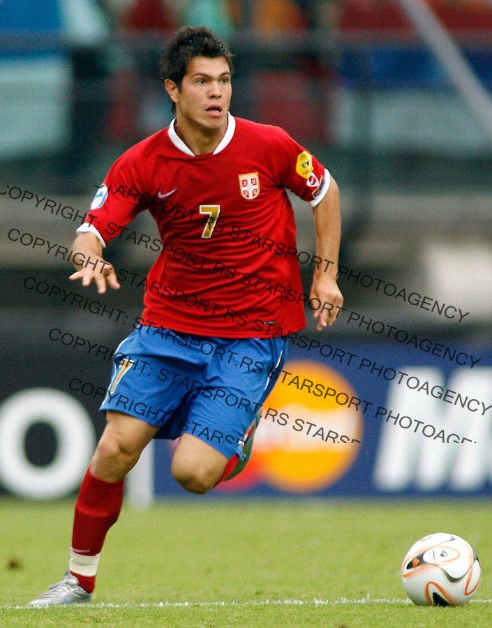 Serbia's player Milan Smiljanic, in action, during Serbia U21 vs Czech U21 UEFA European Under 21 Championship Group B, Netherlands 2007, at De Goffert staduim in  Nijmegen, Holland on June 14, 2007 (Srdjan Stevanovic)