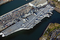 aerial photograph SS Midway aircraft carrier museum ship San Diego California
