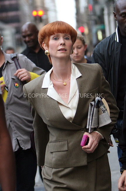 WWW.ACEPIXS.COM . . . . .  ....September 9 2009, New York City....Actress Cynthia Nixon on the set of the new 'Sex and the City' movie on September 9 2009 in New York City....Please byline: NANCY RIVERA- ACE PICTURES.... *** ***..Ace Pictures, Inc:  ..tel: (212) 243 8787 or (646) 769 0430..e-mail: info@acepixs.com..web: http://www.acepixs.com