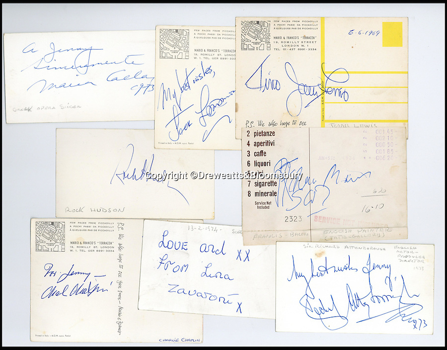 BNPs.co.uk (01202 558833)<br /> Pic: Dreweatts&Bloomsbury/BNPS<br /> <br /> Signatures include Sir Richard Attenborough, painter Francis Bacon and Charlie Chaplin. <br /> <br /> An Italian waiter's stunning collection of autographs of diners that reads like a Who's Who of celebrities from the Swinging Sixties has emerged for sale. <br /> <br /> The late waiter, named only as 'Dino', worked at the famous La Terrazza restaurant in London's Soho which became a haunt of the great and the good from the showbusiness world.<br /> <br /> His daughter is now set for a £4,000 tip when the impressive collection sells at auction.