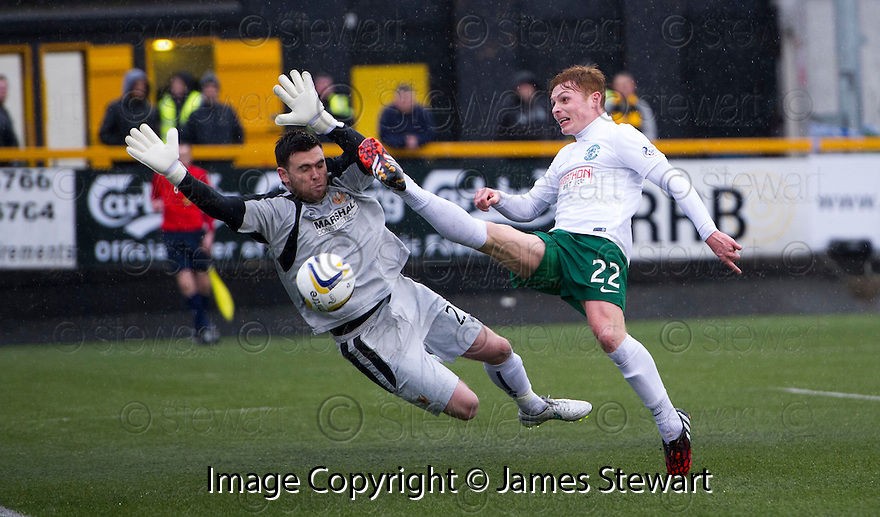 Hib's Fraser Fyvie knocks the ball wide of Alloa keeper Craig McDowall.