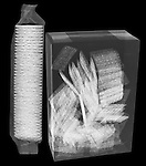 X-ray image of packaged crackers (white on black) by Jim Wehtje, specialist in x-ray art and design images.