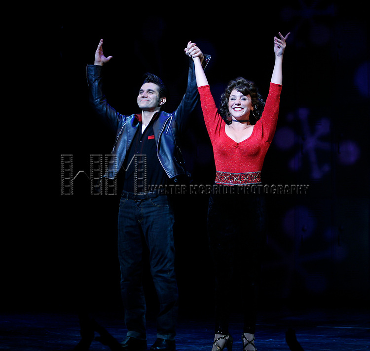 Derek Keeling & Anna Aimee White taking bows during American Idol Heartthrob Ace Young makes his Broadway Debut in the Broadway Revival of GREASE at the Brooks Atkinson Theatre in New York City.<br />September 11, 2008