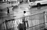 BOSNIA-HERZEGOVINA, Belgrade-Sarajevo Road, 03/2003..Lanscape pictures taken from the bus between Belgrad and Sarajevo. .The bus enters the bus station of Sokolac. .BOSNIE-HERZEGONVINE, Route Belgrade-Sarajevo, 03/2003..Photo prise depuis le bus qui relie Belgrade à Sarajevo. Le bus entre dans la gare routière de Sokolac. © Bruno Cogez / Est&Ost Photography