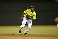 Second baseman Yoel Romero (26) of the Columbia Fireflies plays defense in a game against the Charleston RiverDogs on Thursday, April 4, 2019, at Segra Park in Columbia, South Carolina. Charleston won, 2-1. (Tom Priddy/Four Seam Images)