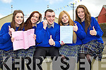 THUMBS UP: Thumbs up by students of Miltown Presentation Secondary School as they were very happy with the first paper of the Leaving Cert on Wednesday, l-r: Aife Tangney (Faha), Alanna Lyne (Killarney), Dara O'Connor and Dearbhil O'Connor (Castlemaine) and Maud Looney (Killarney).