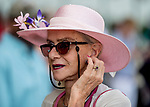 June 8, 2019 : A woman wears a pink hat on Belmont Stakes Festival Saturday at Belmont Park in Elmont, New York. Scott Serio/Eclipse Sportswire/CSM