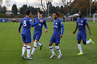 George McEachran (No 8) celebrates scoring Chelsea's opening goal during Chelsea Under-19 vs AFC Ajax Under-19, UEFA Youth League Football at the Cobham Training Ground on 5th November 2019