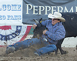 Action the Steer Wrestling event during the Reno Rodeo in Reno, Nevada on Saturday, June 23, 2018.