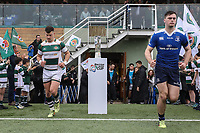 Players enter the pitch for the British & Irish Cup Final match between Ealing Trailfinders and Leinster Rugby at Castle Bar, West Ealing, England  on 12 May 2018. Photo by David Horn / PRiME Media Images.