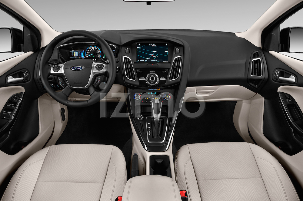 Stock photo of straight dashboard view of 2016 Ford Focus 5-Door-Hatch-Electric 5 Door Hatchback Dashboard