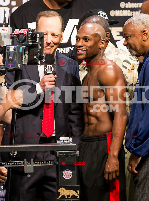 LAS VEGAS, NV - May 3: Floyd Mayweather Jr. pictured at Floyd Maywether Jr. vs Robert Guerro weigh in at MGM Grand Garden Arean on May 3, 2013 in Las Vegas, NV. © Kabik/ Starlitepics