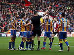James O'Brien of Shrewsbury Town getting a red card during the English Football League One match at Bramall Lane, Sheffield. Picture date: November 19th, 2016. Pic Jamie Tyerman/Sportimage