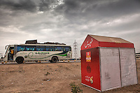 A checkpoint to administer polio vaccinations to children aboard buses arriving in Karachi city from other provinces at the transit point in Karachi, Pakistan on Jan. 08, 2014
