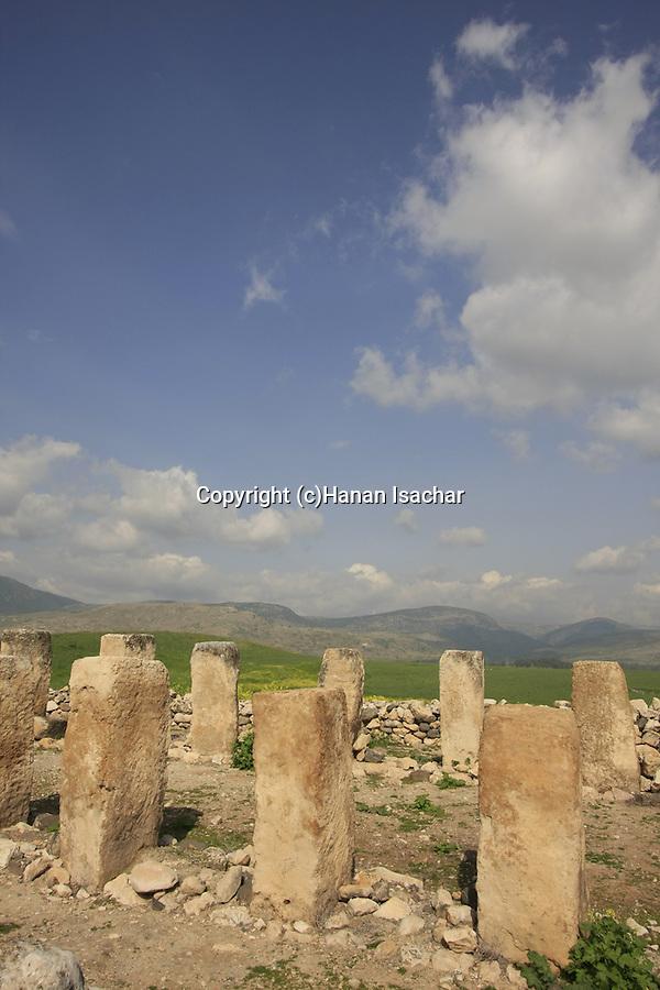 Israel, Upper Galilee. Ruins of storehouses in Tel Hazor, a World Heritage site