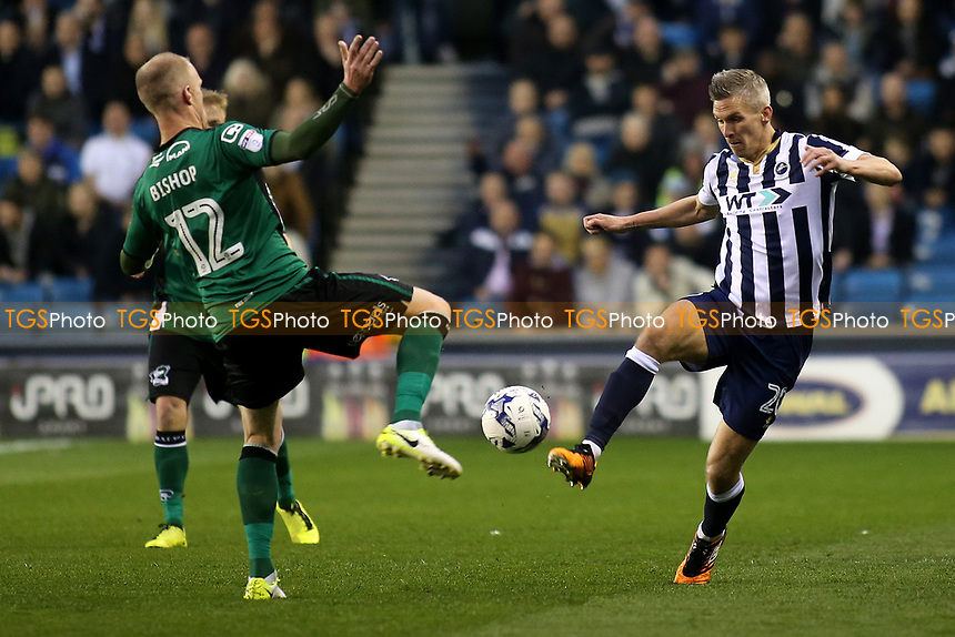 Neal Bishop of Scunthorpe and Millwall's Steve Morison challenge for the ball during Millwall vs Scunthorpe United, Sky Bet EFL League 1 Play-Off Football at The Den on 4th May 2017