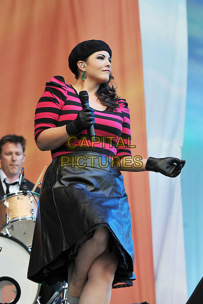Caro Emerald.Performing live at BBC Radio 2 Live in Hyde Park, London, England..September 11th, 2011.stage concert live gig performance music half length black leather skirt pink top stripe gloves hat beret.CAP/MAR.© Martin Harris/Capital Pictures.