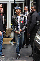 Pharrell Williams coming out of his hotel in Brussels - Exclusive - Belgium