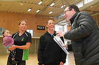 P.I.C's Mila Reuelu-Buchanan (with baby niece Indie-Blu Craig) and coach Ngarama Milner-Olsen talk to minsiter of sport Grant Robertson. Value Of Sport Launch at ASB Sports Centre in Wellington, New Zealand on Saturday, 17 March 2018. Photo: Dave Lintott / lintottphoto.co.nz
