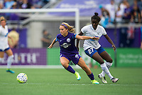 Orlando, FL - Sunday July 10, 2016: Camille Levin, Eunice Beckmann during a regular season National Women's Soccer League (NWSL) match between the Orlando Pride and the Boston Breakers at Camping World Stadium.