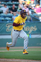 Tyler Williams (25) of the Arizona State Sun Devils runs to first base during a game against the Long Beach State Dirtbags at Blair Field on February 27, 2016 in Long Beach, California. Long Beach State defeated Arizona State, 5-2. (Larry Goren/Four Seam Images)