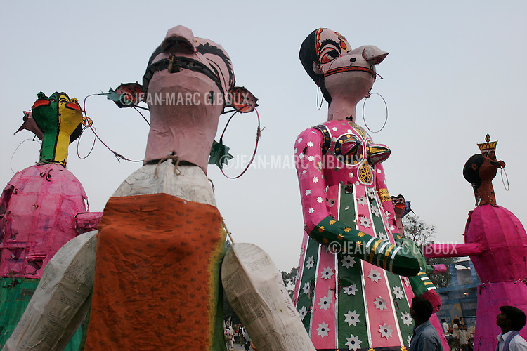 .RAMNAGAR, UTTAR PRADESH, INDIA - OCTOBER 2, 2005 : Effigies of the demons wait for the beginning of the play on day 16 of the Ramlila in Ramnagar, on October 2, 2005. The Ramlila is the play of the Hindu scripture 'the Ramayana' which depict the adventures of the god Ram and his flight aginst the Demon God Ravana. The Ramlila of Ramnagar has been organized by the Maharaja of Benares since the early 1800s and is still the most authentic, a reference to other Ramlilas. The It last for 31 days over a 10 square mile area and is still the largest play to be produced in the world .(Photo by Jean-Marc Giboux)