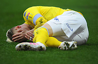 Leeds United's Ezgjan&nbsp;Alioski holds his face after being injured<br /> <br /> Photographer Kevin Barnes/CameraSport<br /> <br /> The EFL Sky Bet Championship - Preston North End v Leeds United -Tuesday 9th April 2019 - Deepdale Stadium - Preston<br /> <br /> World Copyright &copy; 2019 CameraSport. All rights reserved. 43 Linden Ave. Countesthorpe. Leicester. England. LE8 5PG - Tel: +44 (0) 116 277 4147 - admin@camerasport.com - www.camerasport.com