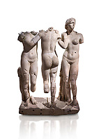 Roman statue of The Three Graces. Marble. Perge. 2nd century AD. Inv no 17.29.81. Antalya Archaeology Museum; Turkey. Against a white background.<br /> <br /> The Three Graces iRoamn statue is of the mythological three charites, daughters of Zeus,  Euphrosyne, Aglaea and Thalia , who were said to represent youth/beauty (Thalia), mirth (Euphrosyne), and elegance (Aglaea).