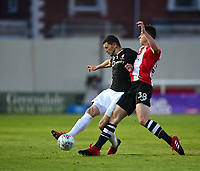 Lincoln City's James Wilson vies for possession with Exeter City's Jordan Storey<br /> <br /> Photographer Chris Vaughan/CameraSport<br /> <br /> The EFL Sky Bet League Two Play Off Second Leg - Exeter City v Lincoln City - Thursday 17th May 2018 - St James Park - Exeter<br /> <br /> World Copyright &copy; 2018 CameraSport. All rights reserved. 43 Linden Ave. Countesthorpe. Leicester. England. LE8 5PG - Tel: +44 (0) 116 277 4147 - admin@camerasport.com - www.camerasport.com