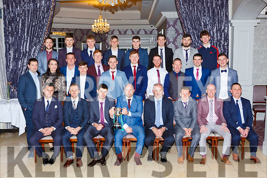 the Listry team that won the Junior championship that were honoured at their social in the Dromhall Hotel on Saturday night front row l-r: Mike Dwyer, Damian Clifford, jimmy O'Leary, Tadgh Ahern, Jerome kennedy Chairman, Danny Wrenn, Derry Ahern, Anthony Clifford. Middle row: john Mannix, Patricia lynch, Brian McCarthy, Peader Keane, Conor O'Sullivan, Joe Clifford, Gary O'Sullivan, Eddie O'Brien, Paul Donoghue, Kieran Murphy Anthony Kennedy. Back row: Dan Clifford, Ronan Buckley, Sean O'Sullivan, Ronan Gallagher, Cian O'Donoghue, Eoghan Darmody, Kevin Courtney and Cian Bradley