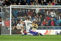 30th October 2019; Estadio Santiago Bernabeu, Madrid, Spain; La Liga Football, Real Madrid versus Leganes; Eden Hazard (Real Madrid) has his shot saved by keeper Soriano (leg) - Editorial Use