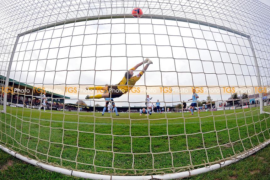 Ben Wright of Salisbury City beats Alan Julian of Dartford for the second goal - Salisbury City vs Dartford - FA Cup 1st Round Proper Football  at the Raymond McEnhill Stadium, Salisbury - 09/11/13 - MANDATORY CREDIT: Denis Murphy/TGSPHOTO - Self billing applies where appropriate - 0845 094 6026 - contact@tgsphoto.co.uk - NO UNPAID USE