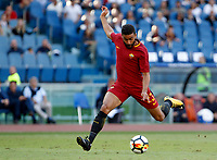 Calcio, Serie A: Roma vs Udinese. Roma, stadio Olimpico, 23 settembre 2017.<br /> Roma&rsquo;s Gregoire Defrel kicks the ball during the Italian Serie A football match between Roma and Udinese at Rome's Olympic stadium, 23 September 2017. Roma won 3-1.<br /> UPDATE IMAGES PRESS/Riccardo De Luca