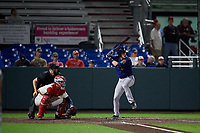 Connecticut Tigers Corey Joyce (8) at bat in front of catcher Andrew Pratt and umpire Benjamin Engstrand during a NY-Penn League game against the Auburn Doubledays on July 12, 2019 at Falcon Park in Auburn, New York.  Auburn defeated Connecticut 7-5.  (Mike Janes/Four Seam Images)