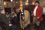 Antrobus Soul Caking Play. Antrobus Cheshire Uk. The Hobby Horse and Trevor Collins, performance at the Golden Pheasant Plumley, Knutsford, Cheshire. 2012.