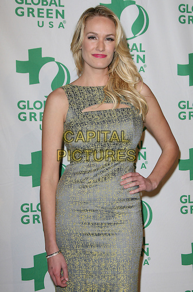 Ashlan Gorse.Global Green USA's 9th Annual Pre-Oscar Party held at the Avalon, Hollywood, California, USA..February 22nd, 2012.half length yellow grey gray sleeveless dress hand on hip.CAP/ADM.©AdMedia/Capital Pictures.