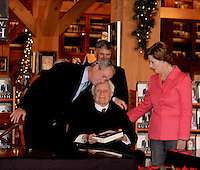 George W. Bush Presents His Book To Billy  Graham At His Library In Charlotte North Carolina USA With Laura Bush And Franklin Graham.   By Jonathan Green