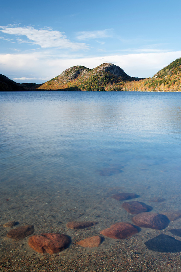 Rocks in Jordan Pond with The Bubbles in background, Acadia National Park, Hancock County, Maine, USA