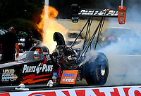 Oct 3, 2014; Mohnton, PA, USA; NHRA top fuel driver Clay Millican during qualifying for the NHRA Nationals at Maple Grove Raceway. Mandatory Credit: Mark J. Rebilas-USA TODAY Sports