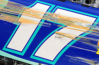 Scrapes on the side of winner Matt Kenseth's (#17) car.