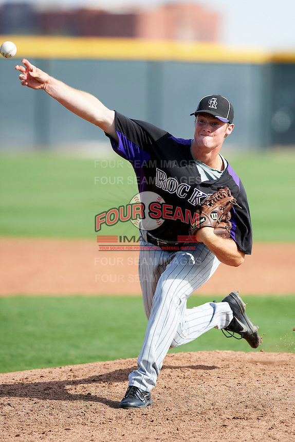 Colorado Rockies minor league pitcher Seth Willoughby #30 during an instructional league game against the San Francisco Giants at the Salt River Flats Complex on October 4, 2012 in Scottsdale, Arizona.  (Mike Janes/Four Seam Images)