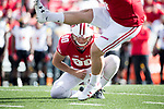 Wisconsin Badgers holder Connor Allen (90) during an NCAA Big Ten Conference football game against the Maryland Terrapins Saturday, October 21, 2017, in Madison, Wis. The Badgers won 38-13. (Photo by David Stluka)