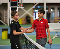 Rotterdam, The Netherlands, 15.03.2014. NOJK 14 and 18 years ,National Indoor Juniors Championships of 2014, Final boys 14 years, Sander Jong (NED) is being congratulated by finalist Sidané Pontjodikromo (R)<br /> Photo:Tennisimages/Henk Koster