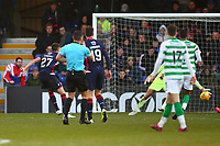 1st December 2019; Global Energy Stadium, Dingwall, Highland, Scotland; Scottish Premiership Football, Ross County versus Celtic; Ross Stewart of Ross County shoots past Fraser Forster of Celtic as referee Nick Walsh blows his whistle for an infringement - Editorial Use