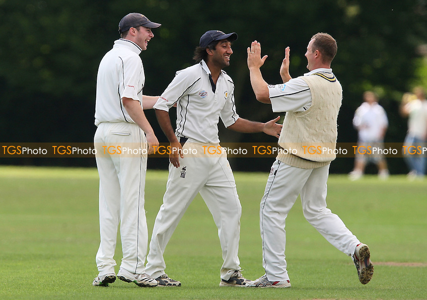 Ardleigh Green celebrate a run-out - Gidea Park & Romford CC vs Ardleigh Green CC - Essex Cricket League - 18/07/09 - MANDATORY CREDIT: Gavin Ellis/TGSPHOTO - Self billing applies where appropriate - Tel: 0845 094 6026