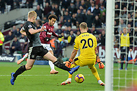 Felipe Anderson Of West Ham United nut megs Joe Hart of Burnley and scores the second Goal and celebrates  during West Ham United vs Burnley, Premier League Football at The London Stadium on 3rd November 2018