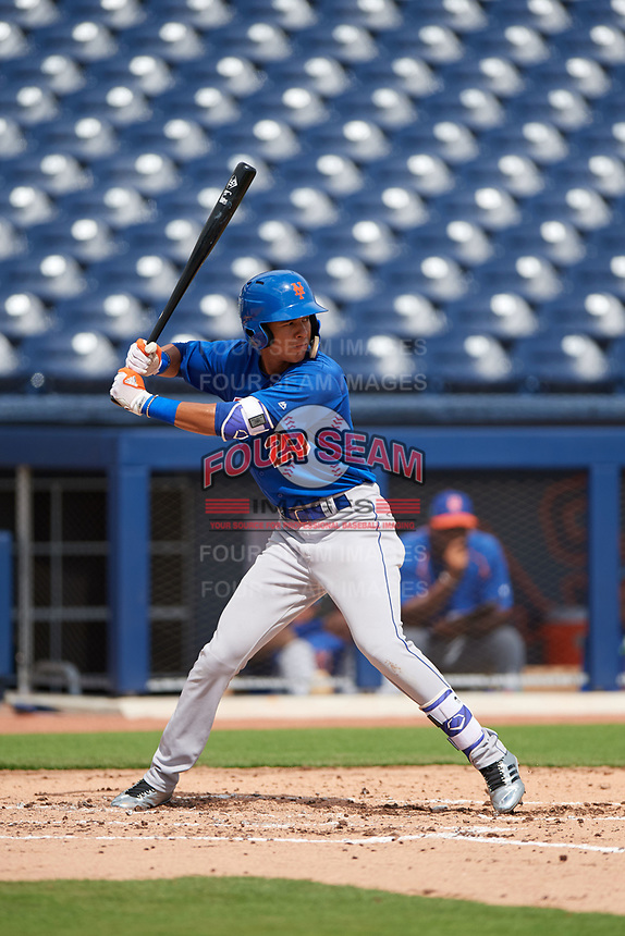 GCL Mets shortstop Mark Vientos (15) at bat during the first game of a doubleheader against the GCL Nationals on July 22, 2017 at The Ballpark of the Palm Beaches in Palm Beach, Florida.  GCL Mets defeated the GCL Nationals 1-0 in a seven inning game that originally started on July 17th.  (Mike Janes/Four Seam Images)